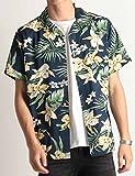 花柄アロハシャツ 花柄 アロハ柄 オープンカラー レーヨン 半袖 Lサイズ 12ネイビー