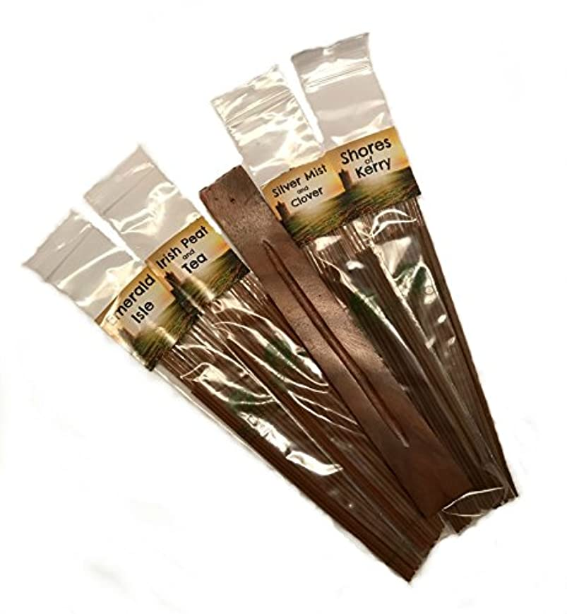 エチケット内向き超高層ビルIrish Incense Assortment & Ashキャッチャーギフトセット – 96スティック、4国アイルランドの香り – 新しい