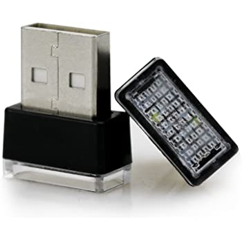 イルミライト 車用家用USB  イルミカバー  LED  ABSプラスチック 車運転室 リアシート ラッゲージ コンソールボックスの補助照明 USBポートカバー 2個セット (ホワイト)