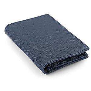 [レガーレ] カードケース 本革 大容量 磁石でキッチリ閉まる安心設計 (化粧箱入り) 名刺入れ ネイビー