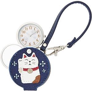 [フィールドワーク]Fieldwork 懐中時計 まねきねこ ルーペ 付き ネイビー LW047-3 懐中時計