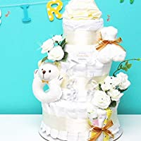 3段おむつケーキ アンティークホワイト (Lサイズ[6-12カ月]) 男の子