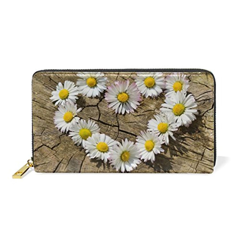 財布 レディース 長財布 大容量 かわいい 花柄 菊花 心柄 きれい おしゃれ ファスナー財布 ウォレット 薄型 本革 型押し 小銭入れ プレゼント用