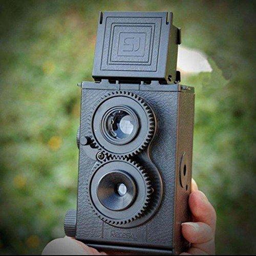 二眼レフカメラ レトロおもちゃ モノクローム撮影 35㎜フィルム 組み立て式 ツインレンズ DIYカメラ レフレックスキット Lomo Recessky ブラック