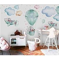 熱気球の動物の壁紙壁画、子供部屋の連絡用紙3d写真の壁紙子供部屋の壁の壁画、壁紙ロール280 cm(W)x 180 cm(H)