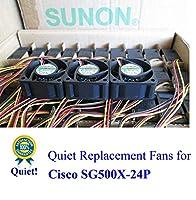 超静音 Cisco SG500X-24P ファンキット 3X Sunon MagLev ファン 13~18dBAノイズ
