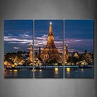 最初の壁アート–Arun Wat Templeライトサンセット壁アート絵画プリントキャンバスの宗教の絵ホーム装飾ギフト 16x32inchx3Panel 8215730F