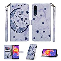MGVV Huawei P20 Case,[Moon Embossing] Leather Flip Wallet Case with Credit Card Holder & Wrist Strap Magnetic Closure Kickstand Compatible with Huawei P20 - Blue