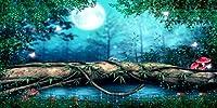 オールドキャッスル バックドロップ 魅力的なダークフォレスト ワンダーランド プリンセス シークレットガーデン 月の怖い夜の裏庭 池のビッグツリー シンデレラ 木のプリント生地 背景 16' wide by 8' tall GJ-25