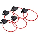 5PCS Fuse Holder 12AWG Wiring Harness Inline Fuse Holder Waterproof Plug-in Blade Medium Fuse Holder with 12V 30A Wire for Tr