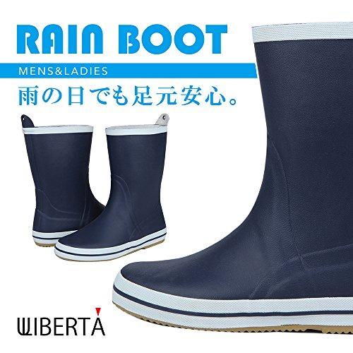 [リベルタ] 長靴 レインブーツ レインシューズ ショート ラバー ネイビー ユニセックス 26cm