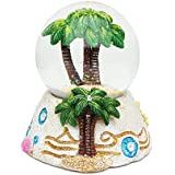 Puzzled Palm Tree Resin Stone Finish Snow Globe - Beach Collection - 65 MM - Unique Elegant Gift and Souvenir - Item 9364