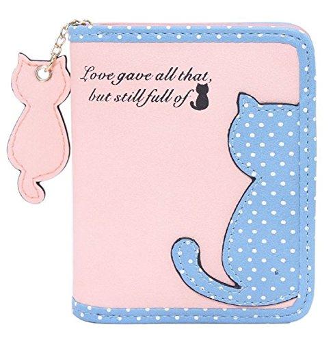 (フミレル) fumirel 二つ折り 財布 ラウンド ファスナー 猫 チャーム レディース (2.ベビーピンク)