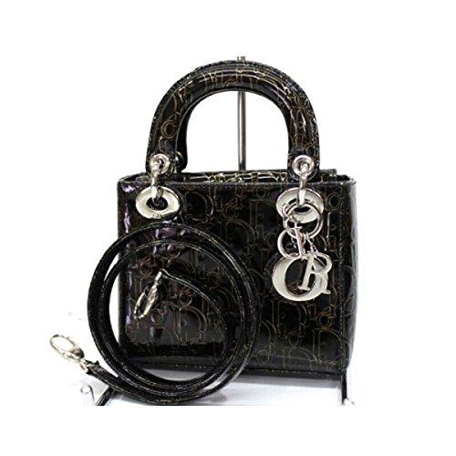 (クリスチャン・ディオール) Christian Dior レディディオール エナメル 2WAYミニハンドバッグ ブラック シルバー金具 [中古]
