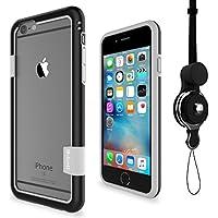 [WOEXET] iPhone 6/iphone 6s用バンパーとストラップセット ストラップ付きケース カラビナ 落下防止 モバイル 携帯ストラップ ネックストラップ スマホ用ストラップ ブラック