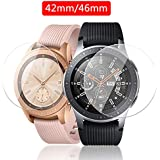2 Pack DGBAY Tempered Glass Screen Protector Film for Samsung Galaxy Watch 42mm/46mm,2.5D Full Coverage High Definition Premium Clear 2 Packs Smartwatch Accessories (42mm)