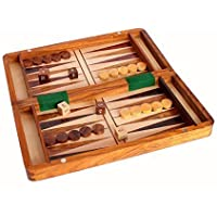 Stonkraft Wood Backgammon and Chess Set Combo - 30cm Travel Size Portable Folding Game Board with Storage and Magnetic Chess and Backgammon Pieces in Rosewood - Handmade Travelling Wooden Indoor Family Board Games