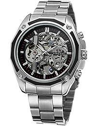 GuTe出品 腕時計 メンズ 自動巻き(手巻き) スケルトン アンティーク ステンレスバンド 格好良い シルバー ブラック 機械式