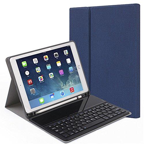 ペンシル 収納可能 iPad Pro 10.5 アイパッドプロ 10.5 キーボード ケース ガラス Apple Pencil ケース iPad 10.5 インチ キーボード付きケース 分離式 PODITAGI (iPadPro10.5, ブルー)