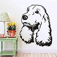 Hnzyfコッカースパニエル取り外し可能な壁デカールかわいい子犬犬の寝室の壁画ビニールデカールペットウォールステッカー用リビングルーム犬ヘッド壁画34×44cm