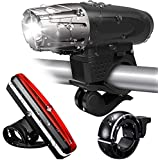 Tobeape Bicycle Light Set, 300 Lumen Ultra Bright USB Rechargeable Bike Lights with Bike Taillight & Bike Bell, 4 Light Modes, Easy to Install for Bicycles, Mountain, Road