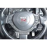 GT-R R35 ステアリングパネル 綾織ブラックカーボン製 (メーカーデュポンクリア塗装仕上げ)