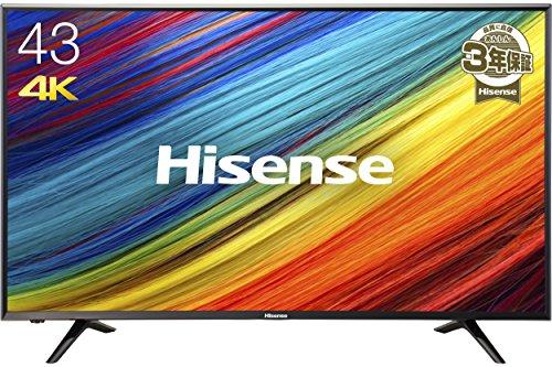 ハイセンス 43V型 4K対応 液晶 テレビ  HJ43N3000 外付けHDD 録画 裏番組録画 ...