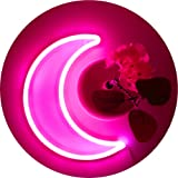 LED Pink Moon Neon Light, Cute Neon Moon Sign, Room Decor Battery or USB Powered 4.5V Art LED Decorative Lights Night Lights