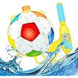 shengo 水鉄砲 ウォーターガン バックパック式 水ピストル 子供 おもちゃ 超強力飛距離 水遊び 果物 フットボール (ランダムカラー)