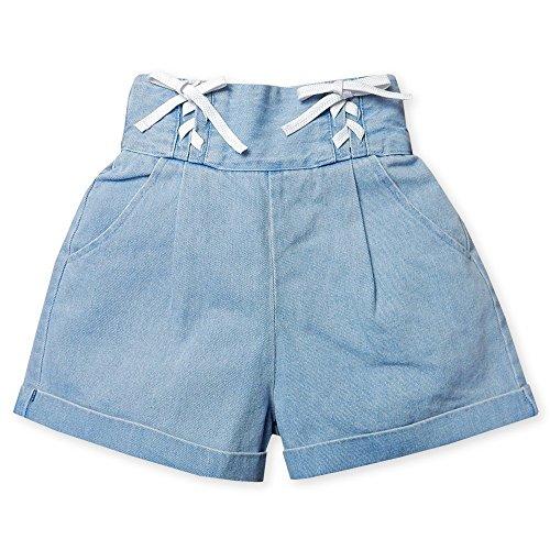 (サックス/160cm)子供服 女の子 デニム ショート パンツ Silver Sue ボトム ハイウエスト レースアップ タック入り ロールアップ ウエストゴム入 女児 ジュニア