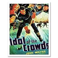 Movie Film Idol Crowds John Wayne Duke Ice Hockey Drama Art Print Framed Poster Wall Decor 12X16 Inch 映画膜ドラマポスター壁デコ