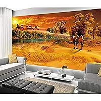 Ljjlm カスタム3D写真壁紙ベッドルーム壁画砂漠ラクダの木の風景3D絵画テレビの背景不織布壁紙For 3D-420X280cm