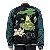 (スクリプト)スクリプト花旅楽団 蓮と蛙柄刺繍リバーシブルスカジャン 和柄 和風 カエル SSJ-513 ブラック XL