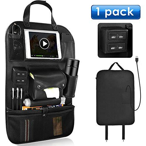 シートバックポケット LOFTER 車用収納ポケット レザー製 4つUSB充電ポート搭載 多機能 バックシートポケット 大容量 取り付け簡単 防水防汚 USBケーブル付き 1点セット