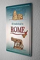 Shimaier 壁の装飾 メタルサイン ウォールアート - City Rome 縦40×横30cm ブリキ看板 店舗装飾 壁面ディスプレー おしゃれ 雑貨 通販 アメリカン ガレージ