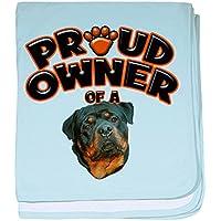 CafePress – Proud Owner Of A Rottweiler 3 – スーパーソフトベビー毛布、新生児おくるみ ブルー 049667600825CD2