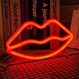 ENUOLI Lip Neon Light Red Sign Neon Lip Light Wall Lamp Room Decor Battery and USB Operated LED Neon Lights Red Lip Neon Signs Lamps Light up for Children's Bedroom Bar Party Wedding Christmas