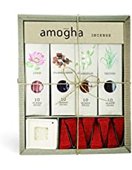 Iris Amogha Incense with 10 Sticks - Lotus, Frankincense, Frangipani & Vetiver Gift Set