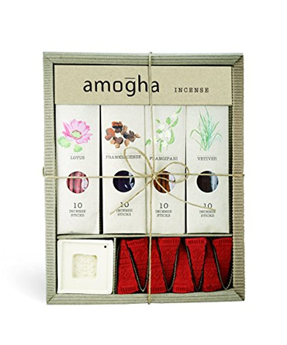 暖炉研磨剤インペリアルIris Amogha Incense with 10 Sticks - Lotus, Frankincense, Frangipani & Vetiver Gift Set