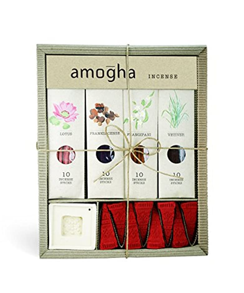 どちらも苦ストロークIris Amogha Incense with 10 Sticks - Lotus, Frankincense, Frangipani & Vetiver Gift Set