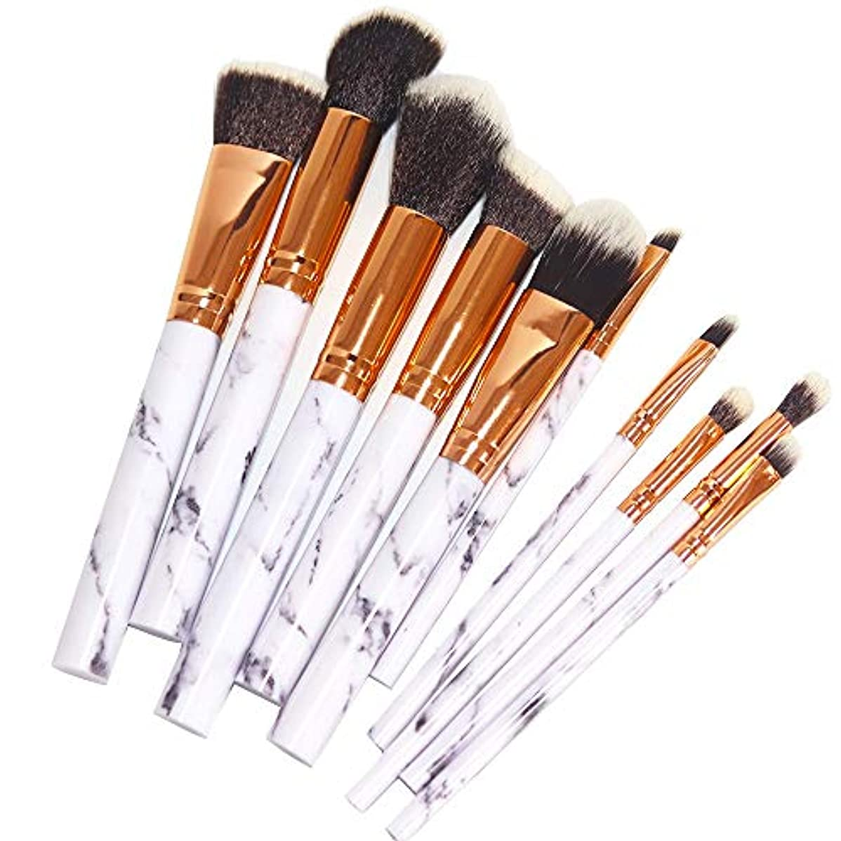 アプライアンスフクロウ料理化粧筆 パウダーブラシ コスメ アイシャドーブラシ 大理石柄 化粧ブラシ 高級繊維毛 柔らかい 携帯便利 ソフトメイクブラシセット 10本セット