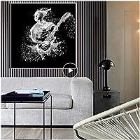 抽象的な肖像画黒と白のキャンバス絵画ポスターとプリント北欧北欧壁アート画像リビングルームの装飾-40×40センチ(枠なし)