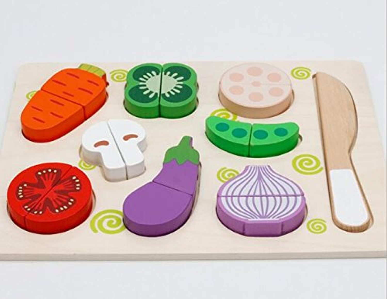 HuaQingPiJu-JP 子供のための高品質の木製の就学前の野菜の認知ボード教育パズル