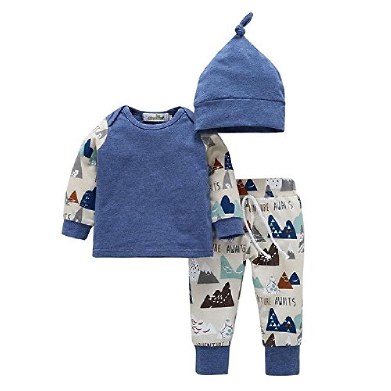 Ochine 新生児 幼児 長袖 上着+ロングパンツ+帽子 三点セット 可愛いプリント ベービー服 女の子&男の子 コットンブレンド 子供服 セット服 カバーオール 出産祝い 0-18月設定 (XS、0-6月)
