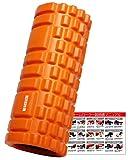 ACEFITS フォームローラー グリッドフォームローラー トリガーポイント&筋膜リリースモデル 説明書付き (オレンジ)