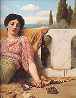 手描き-キャンバスの油絵 - Quiet Pet Neoclassicist lady John William Godward 芸術 作品 洋画 ウォールアートデコレーション -サイズ17
