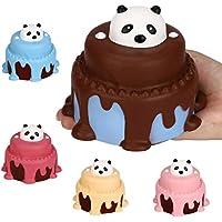 Slow Rising子供おもちゃ、Hunzed新しいジャンボパンダケーキクリーム香りつきケーキおもちゃソフト電話ストラップAbreact Toy
