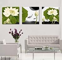 CoFun Art ハスのはなの風景画 現代壁の絵 壁掛け 部屋飾り 背景絵画 壁アート HD しゃしん 木枠付きの完成品 装飾 軽くて取り付けやすい (30×30cm×3)