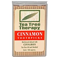 Tea Tree Therapy Toothpicks - Birchwood Infused with Cinnamon Tea Tree Oil and Menthol, 1200 Ct by Tea Tree Therapy