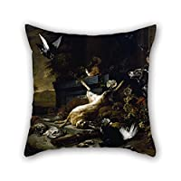 Bestdecorhouse Oil Painting Jan Weenix - Still Life Of Game Including A Hare, Black Grouse And Partridge, A Spaniel Looking On With A Pigeon Cushion Covers 20 X 20 Inches / 50 By 50 Cm Best Choice